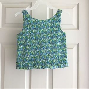 GAP Smocked Floral Tank Top Size Large